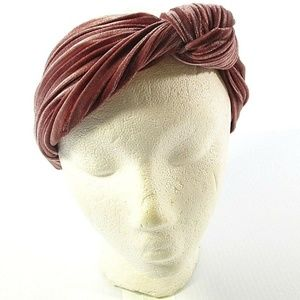 Velvet Mauve Headband Turbine Knot Head Wrap Pink